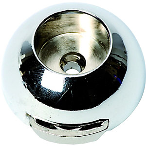 Wickes Wardrobe Rail Covered Socket Chrome 19mm 2 Pack