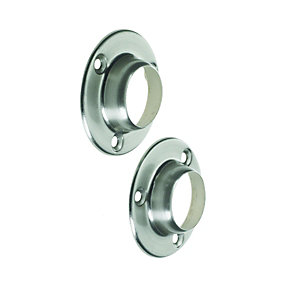 Wickes Wardrobe Rail Socket Brushed Nickel 25mm 2 Pack