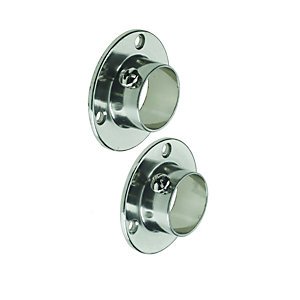 Wickes Wardrobe Rail Retaining Socket Brushed Nickel 25mm 2 Pack