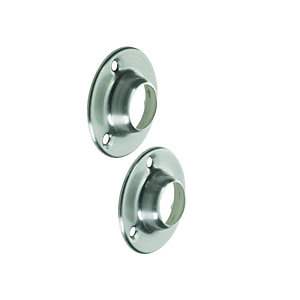 Wickes Wardrobe Rail Socket Brushed Nickel 19mm 2 Pack