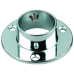 Wickes Wardrobe Rail Super Deluxe Socket Chrome 25mm 2 Pack