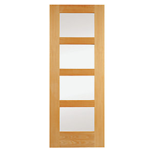 Wickes Marlow Internal Oak Veneer Door Clear Glazed 4 Panel 1981x838mm
