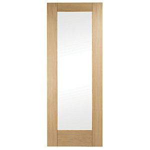 Wickes Oxford Internal Oak Veneer Door Glazed 1 Panel 1981 x 686mm