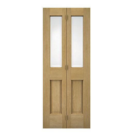 wickes cobham internal bi fold door oak veneer glazed 4. Black Bedroom Furniture Sets. Home Design Ideas