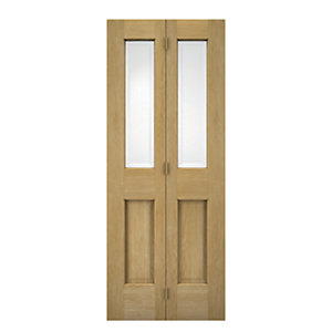 Wickes Cobham Internal Bi-Fold Door Oak Veneer Glazed 4 Panel 1981x686mm
