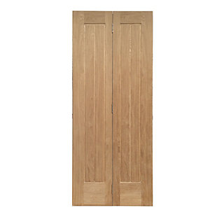 Wickes Geneva Internal Bi-Fold Door Oak Veneer 5 Panel 1981x686mm