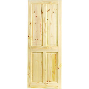 Wickes Chester Internal Softwood Door Knotty Pine 4 Panel 1981 x 838mm