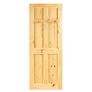 Wickes Lincoln Internal Softwood Door Knotty Pine 6 Panel 1981x610mm