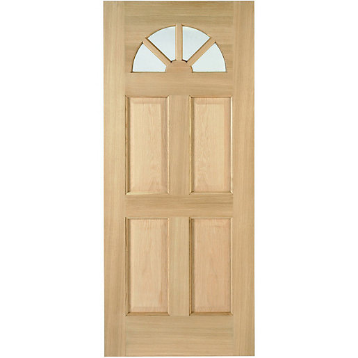 Wickes Carolina External Oak Veneer Door Glazed 4 Panel