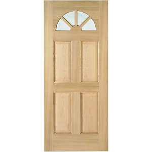 Wickes Carolina External Oak Veneer Door Glazed 4 Panel 1981x762mm