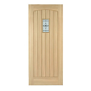 Wickes Croft External Oak Veneer Door Glazed 1981 x 762mm