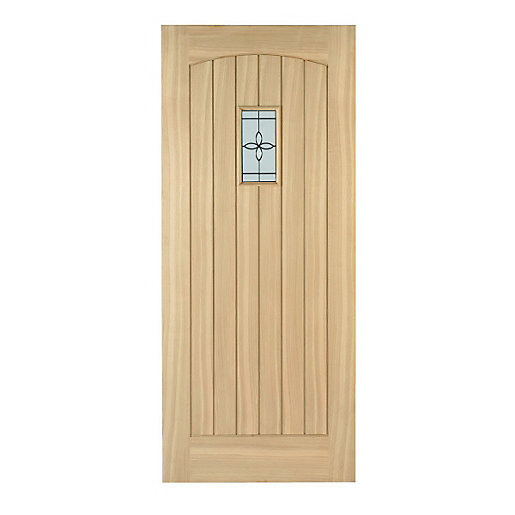 Wickes croft external cottage oak veneer door glazed 2032 for Door viewer wickes