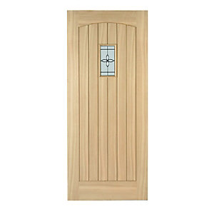 Wickes Croft External Oak Veneer Door Glazed 2032x813mm