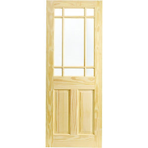 Wickes Truro Internal Softwood Door Pine Glazed 2 Panel 1981x762mm