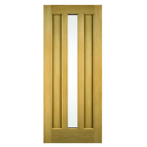 Wickes York External Oak Veneer Door Glazed 2032x813mm