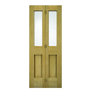 Wickes Cobham Internal Bi-fold Door Oak Veneer Glazed 4 Panel 1981x762mm