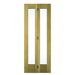 Wickes Oxford Internal Bi-fold Door Oak Veneer Glazed 2 Panel 1981 x 762mm