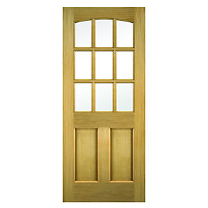 Wickes Georgia External Oak Veneer Door Glazed 2 Panel 2032x813mm