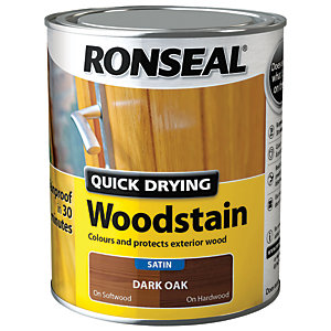 Ronseal Quick Drying Woodstain Satin Dark Oak 750ml