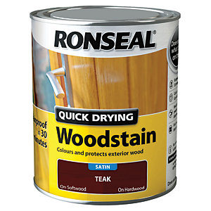 Ronseal Quick Drying Woodstain Satin Teak 750ml