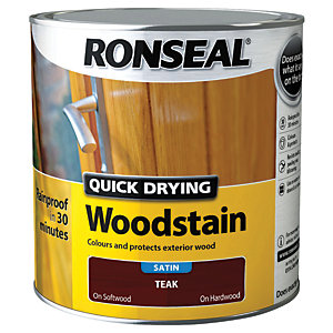 Ronseal Quick Drying Woodstain Satin Teak 2.5L