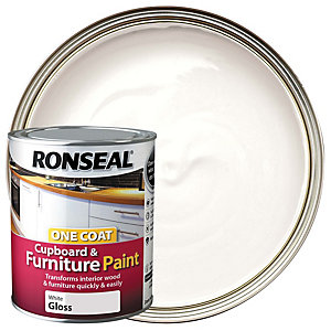 Ronseal One Coat Cupboard Paint White Gloss 750ml