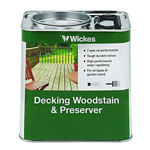 Wickes Decking Woodstain & Preserver 2.5L Dark Brown