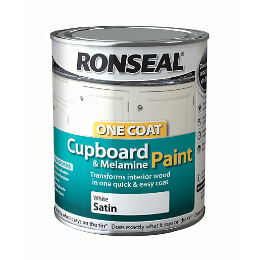 Ronseal One Coat Cupboard Paint White Satin 750ml Wickes