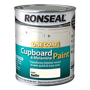 Ronseal One Coat Cupboard Paint Ivory Satin 750ml