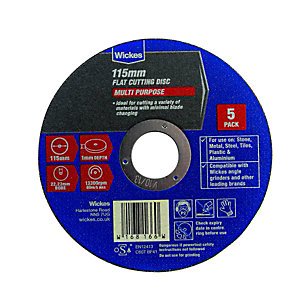 Wickes Multipurpose Flat Cutting Disc 115mm Pack 5