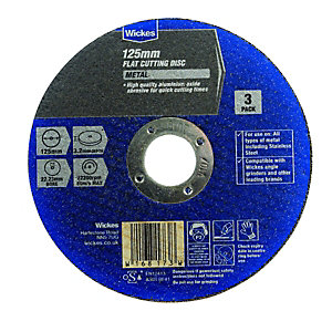 Wickes Metal Flat Cutting Disc 125mm Pack 3