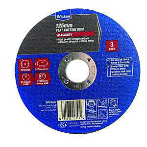 Wickes Masonry Flat Cutting Disc 125mm Pack 3