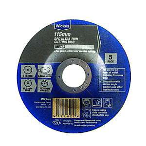 Wickes Metal Flat Cutting Disc 115mm Pack 5
