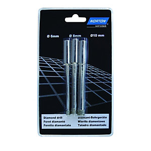 Wickes 6/8/10mm Diamond Tile Drill Bits Pack 3