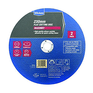 Wickes Masonry Flat Cutting Disc 230mm Pack 2