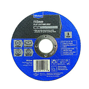Wickes Metal Flat Cutting Disc 115mm Pack 3