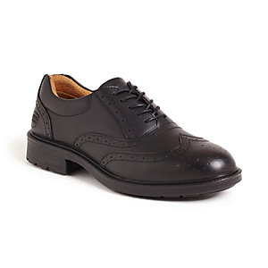 City Knights Black Leather Brogue Safety Shoe Size 9