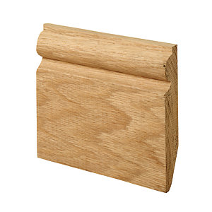 Wickes Dual Purpose Chamfered/Torus Oak Skirting 19 x 119 x 2400mm Pack 2