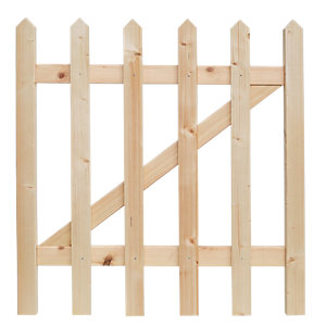 Wickes Palisade Pointed Top Timber Gate Kit 890 x 865mm