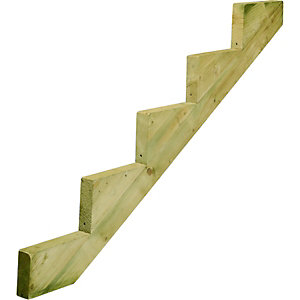 Wickes Decking Stair Stringer 5 Tread 238x1630mm Light Green