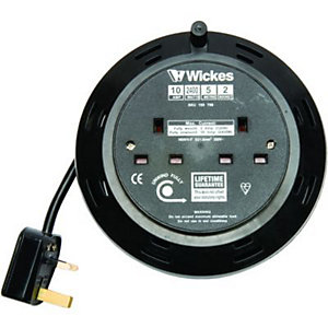 Wickes Extension Cable Reel 2 Sockets 5m 10A