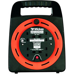 Wickes Easi Reel Cable Reel With Thermal Cutout 4 Sockets 15m 13A