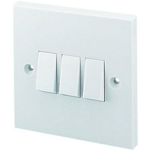 Wickes 10A Light Switch 3 Gang 2 Way White