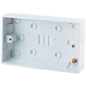 Wickes Pattress Box 2 Gang 25mm 6 Pack