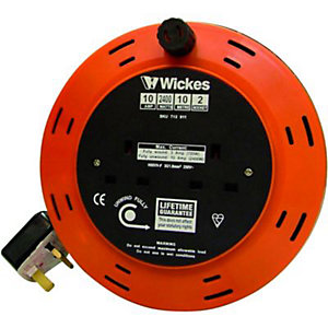 Wickes Extension Cable Reel 2 Sockets 10m 10A