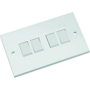 Wickes 10A Light Switch 4 Gang 2 Way White