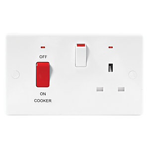Wickes 45A Cooker Control with Neon Slimline White