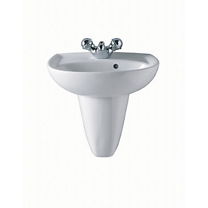 Twyford Gn4821Wh New Galerie Basin 1 Tap Hole White 450mm