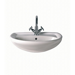 Twyford Gn4621Wh New Galerie Semi Recessed Basin 1 Tap Hole White 500mm