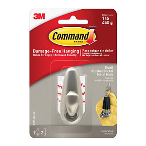 Command™ Forever Classic Small Metal Hook Brushed Nickel